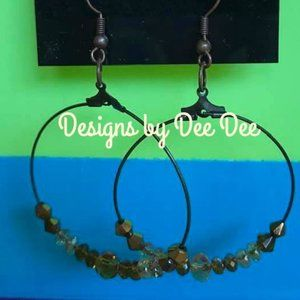 Bronze Hook & Hoop Beaded Earrings